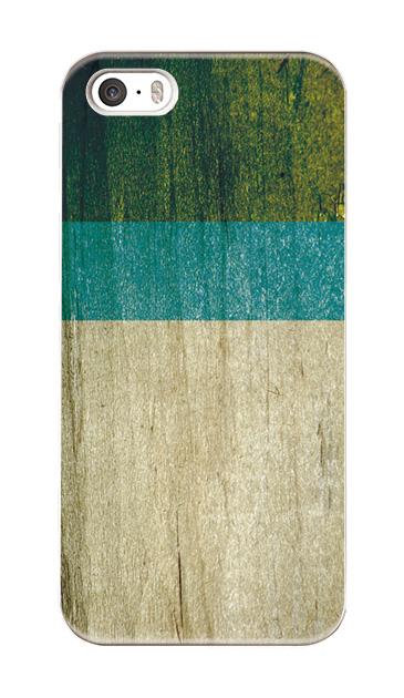 iPhoneSEのケース、ウッド・ブルー×グリーン