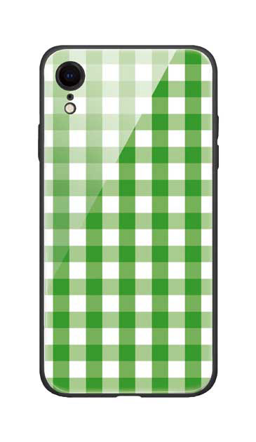 iPhoneXRのガラスケース、Gingham Check Medium【スマホケース】