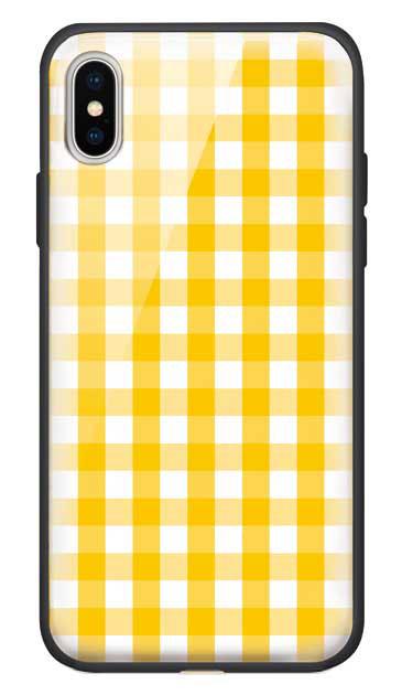 iPhoneXのガラスケース、Gingham Check Medium【スマホケース】