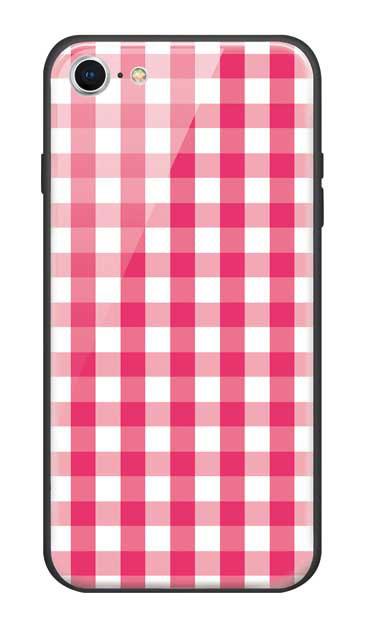 iPhone8のガラスケース、Gingham Check Medium【スマホケース】