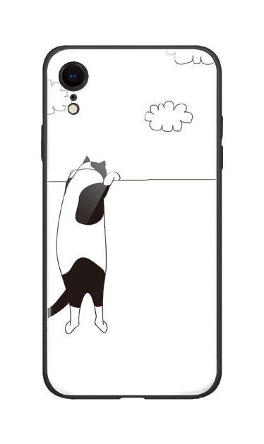 iPhoneXRのケース、夢中に覗く三毛ねこ【スマホケース】