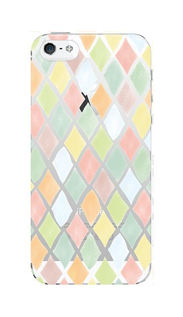 iPhone5Sのクリア(透明)ケース、やさしいひし形【スマホケース】