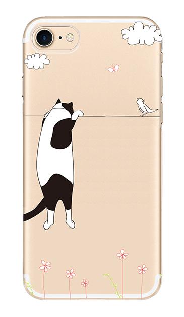 iPhone7のクリア(透明)ケース、もっと覗く三毛ねこ【スマホケース】
