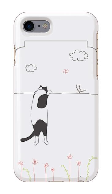 iPhone8のミラー付きケース、もっと覗く三毛ねこ【スマホケース】
