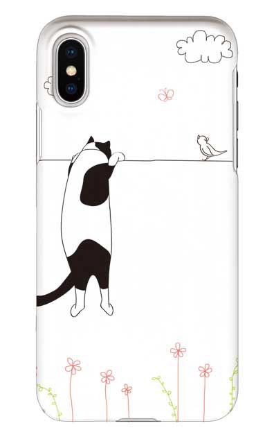 iPhoneXSのケース、もっと覗く三毛ねこ【スマホケース】
