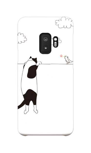 Galaxy S9のケース、もっと覗く三毛ねこと小鳥【スマホケース】