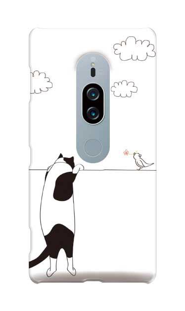 Xperia XZ2 Premiumのケース、もっと覗く三毛ねこと小鳥【スマホケース】