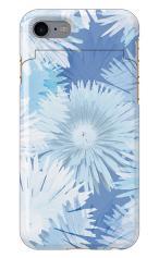iPhone7対応のミラーつきケース、グラデーションフラワー・BLUE
