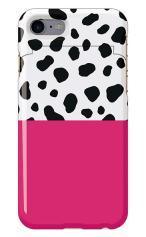 iPhone7対応のミラーつきケース、マゼンダ・ダルメシアン