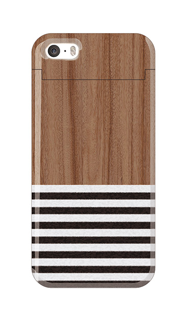 iPhone5Sのミラー付きケース、Woodボーダー【スマホケース】
