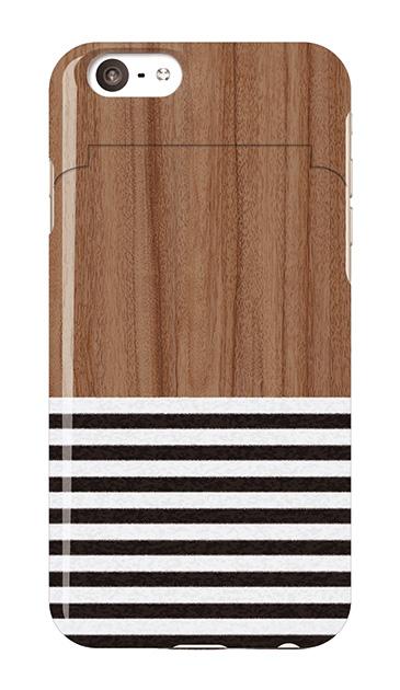 iPhone6sのミラー付きケース、Woodボーダー【スマホケース】