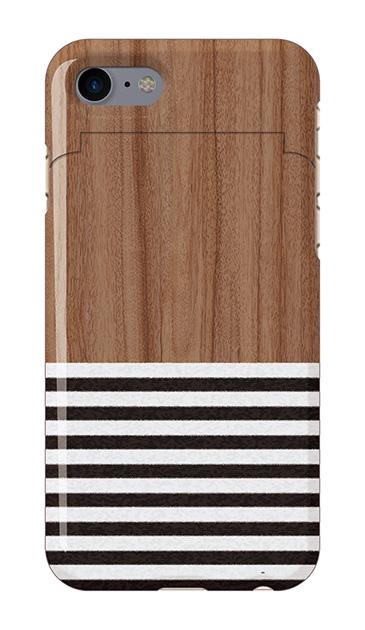 iPhone7のミラー付きケース、Woodボーダー【スマホケース】
