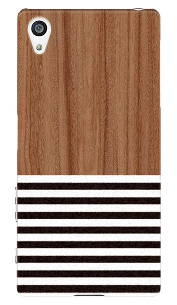 Xperia Z5のケース、Woodボーダー【スマホケース】