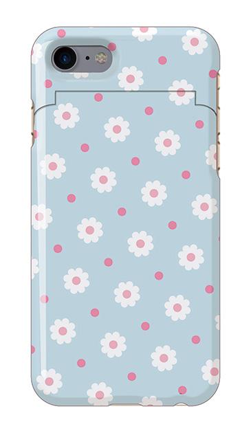 iPhone7のミラー付きケース、ドットDaisy・フラワー【スマホケース】