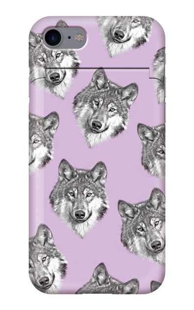 iPhone8のミラー付きケース、オオカミ集合【スマホケース】