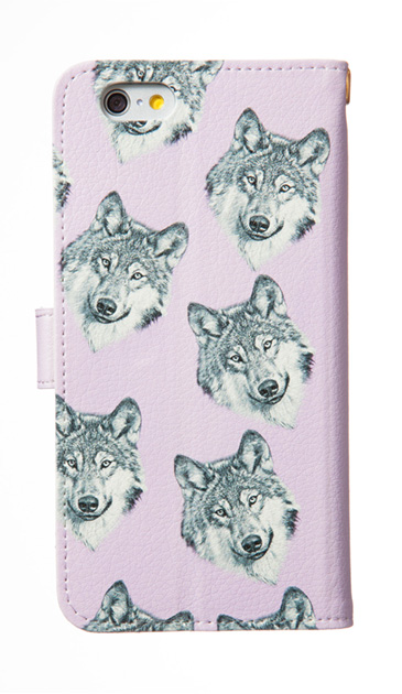 iPhoneSEの手帳型ケース、オオカミ集合【スマホケース】