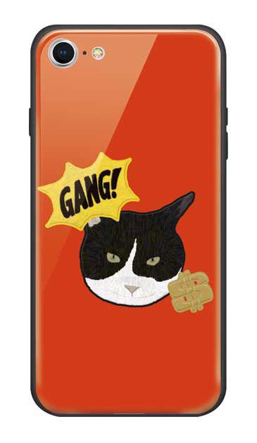 iPhone8のガラスケース、GANGなハチワレねこ【スマホケース】