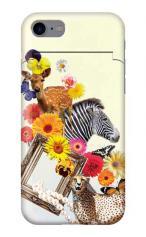 iPhone7対応のミラーつきケース、アニマルコラージュ
