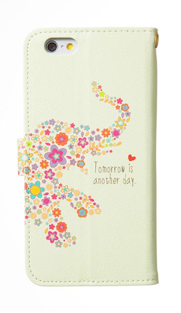 iPhone7の手帳型ケース、フラワーゾウさん【スマホケース】