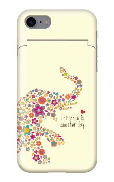 iPhone7のミラー付きケース、フラワーゾウさん【スマホケース】