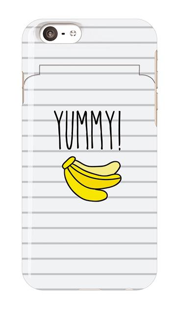 iPhone6sのミラー付きケース、ボーダーYUMMYバナナ【スマホケース】