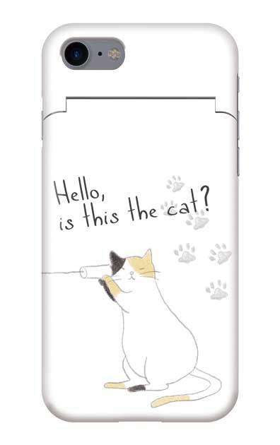 iPhone8のミラー付きケース、糸電話ねこ【スマホケース】