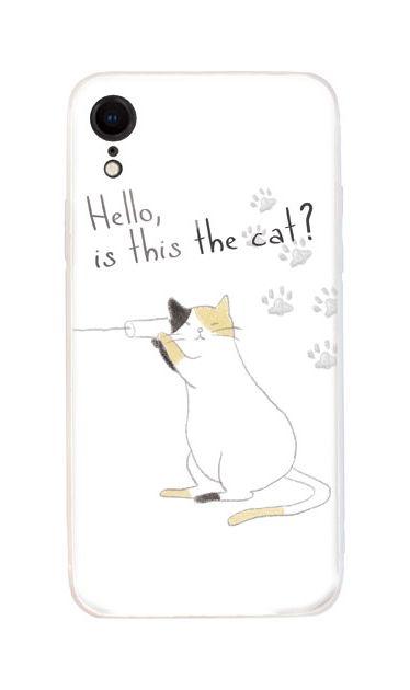 iPhoneXRのケース、糸電話ねこ【スマホケース】