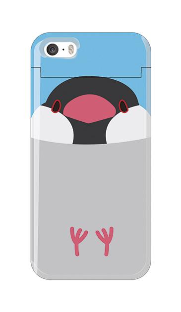 iPhoneSEのミラー付きケース、ふくふく文鳥【スマホケース】