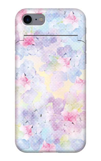 iPhone7のミラー付きケース、砂糖菓子あじさいフラワー【スマホケース】