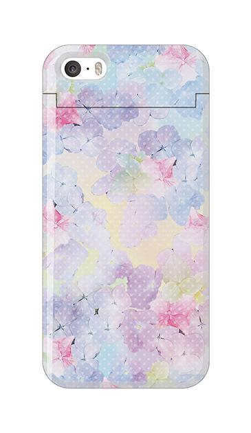 iPhoneSEのミラー付きケース、砂糖菓子あじさいフラワー【スマホケース】