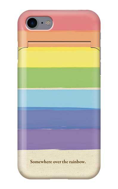 iPhone8のミラー付きケース、キャンバス地レインボー【スマホケース】