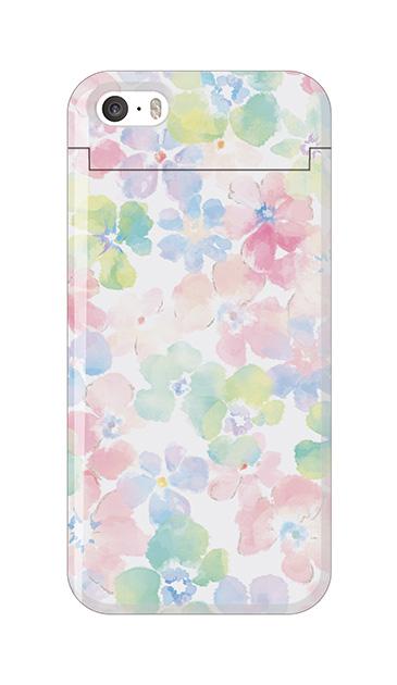 iPhone5Sのミラー付きケース、パステルあじさい・フラワー【スマホケース】