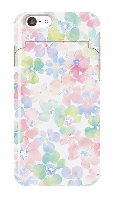 iPhone6sのミラー付きケース、パステルあじさい・フラワー【スマホケース】