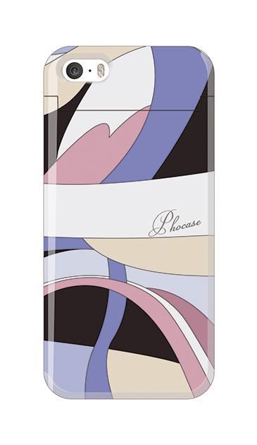 iPhoneSEのミラー付きケース、エレガントボーダー【スマホケース】