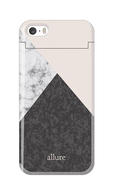 iPhoneSEのミラー付きケース、marbleパレット【スマホケース】