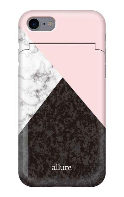 iPhone7のミラー付きケース、marbleパレット【スマホケース】