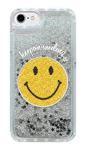 iPhone7のグリッターケース、ワッペンスマイル【スマホケース】