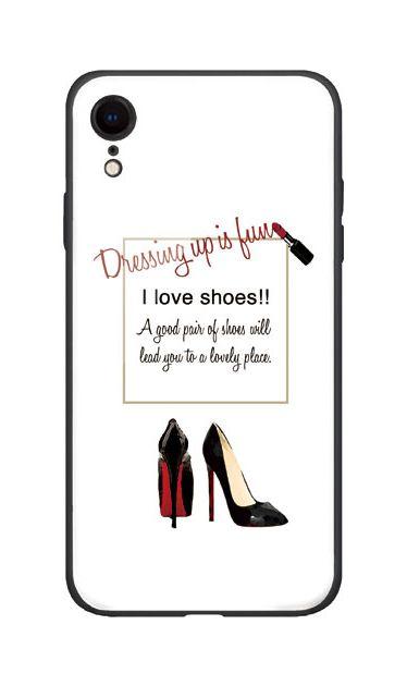 iPhoneXRのガラスケース、ルージュとピンヒール【スマホケース】