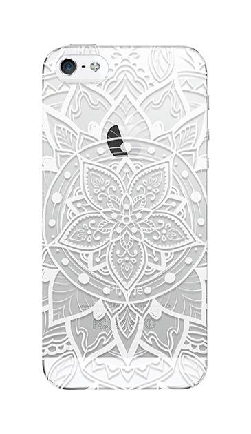 iPhoneSEのクリア(透明)ケース、パステルアラベスク