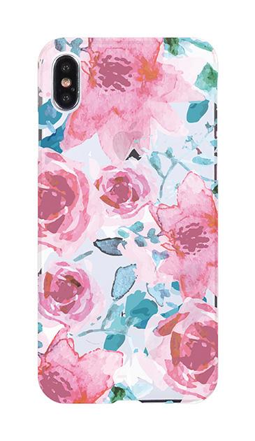 iPhoneXS Maxのケース、水彩フラワー・クレマチス