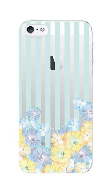 iPhone5Sのクリア(透明)ケース、ストライプフラワー