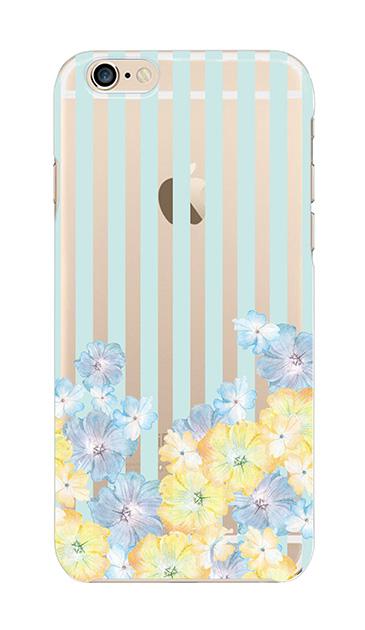 iPhone6sのクリア(透明)ケース、ストライプフラワー