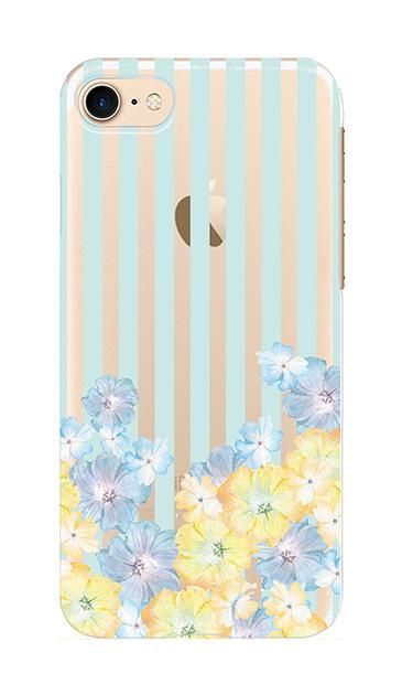 iPhone7のクリア(透明)ケース、ストライプフラワー