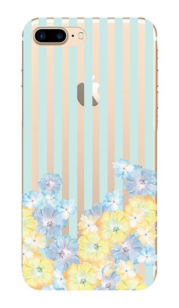 iPhone7 Plusのクリア(透明)ケース、ストライプフラワー