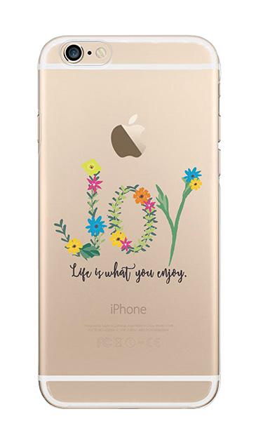 iPhone6sのクリア(透明)ケース、フラワーメッセージ・ジョイ