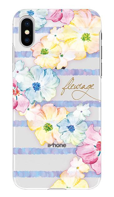 iPhoneXのケース、水彩フラワーボーダー【スマホケース】
