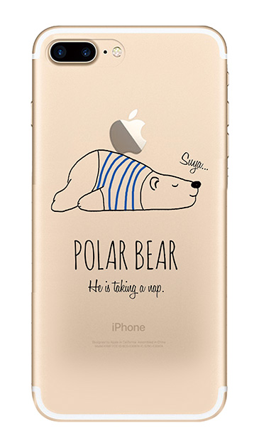iPhone7 Plusのクリア(透明)ケース、おやすみポーラベア【スマホケース】
