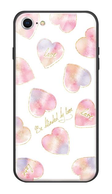 iPhone8のガラスケース、水彩ラブハート【スマホケース】