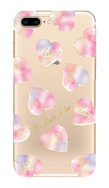 iPhone7 Plusのクリア(透明)ケース、水彩ラブハート【スマホケース】