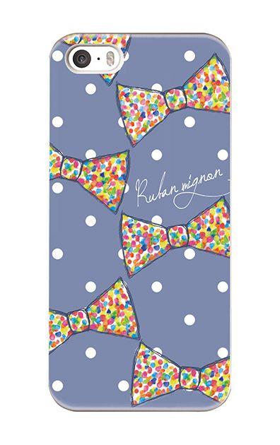 iPhoneSEのケース、虹色ドットリボン